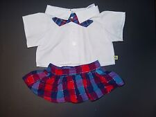 Build a Bear Clothes Clothing Outfit White Shirt Plaid skirt