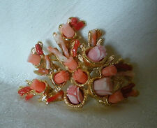 SWOBODA FLOWER SPRAY PIN BROOCH ~ ASSORTED CORAL ~ GORGEOUS