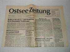 Ostsee-Zeitung 07.12.1989, Dezember 1980er Jahre DDR Tageszeitung 38.Jahrgang