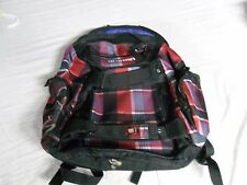 BURTON Backpack Laptop Bag w/ Board Straps Red Plaid design RS 7139