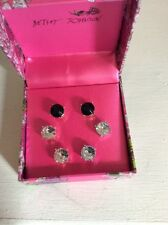 BETSEY JOHNSON EARRINGS 3 PAIR STUDS CRYSTAL STUDS IN GIFT BOX, $35 (2)