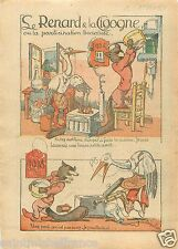Caricature Le Renard et la Cigogne Jean de La Fontaine 1927 France ILLUSTRATION