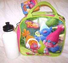 "Dreamworks 9.5"" Trolls Poppy+Friends Hot  Pink Lunch Bag with Water Bottle-New!"