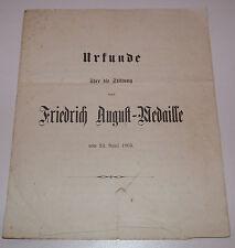 Urkunde Friedrich August - Medaille 1905 mit 4 Nachtrag