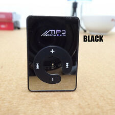 16GB Mini Mirror MP3 Music Player Clip Support Black Micro SD TF Card Portable