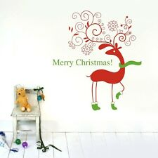 Merry Xmas Removable Reindeer Flower Wall Art Sticker Vinyl Decal Decor Kids DIY