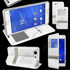 Accessoire Housse Coque Etui S-View Flip Cover Blanc Sony Xperia Z3 Compact