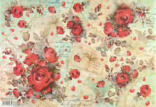 Rice paper Scrapbook Sheets Red Roses