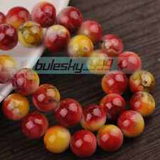 New 50pcs 8mm Round Jewelry Findings Loose Spacer Glass Beads Red&Yellow