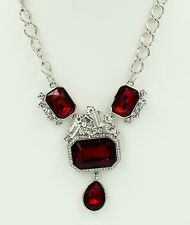 Ruby Red Square Charm Pendant Choker Necklace Crystal Silver Chain Fashion ND13