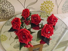 WEDDING ROSE (red) BUTTONHOLES X 6 WITH DIAMANTE OR PEARLS...CHOICE OF COLOURS