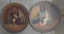 2 grosse Metall-Wandteller,mittig Gemälde, Öl/Leinw ( 237/10060)