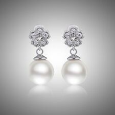 18K White Gold filled Comely flower Simulated Diamond pearl dangling earring!