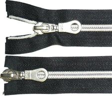 "ZIP BLACK NKS 21"" SILVER NYLON SPIRAL TEETH COIL ZIPPER, TWO WAY OPEN END NUMB 7"
