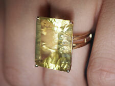 "50's Huge 20cts Green Citrine .3/4"" Wavy Cut~10k Yellow Gold Ring~6.6gr~Sz 6.75"