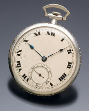 Platinum Case with 2.5 Cts. Diamonds On Outer Edge Haas Pocket Watch CA1910