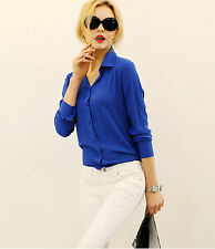 1pc Blue T-shirt Long Sleeve Casual OL Chiffon LooseWomen Lady Collar Size XL