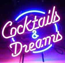 Neon Light Sign Bar Cocktails & Dreams Hand Blown Very Bright Blue/Pink/Purple