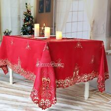 Red Christmas Bell Embroidery Cutwork Satin Engineered Print Fabric Tablecloth