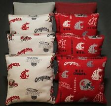 ALL WEATHER Cornhole Bean Bags made w Washington State Cougars Camo fabric RESIN