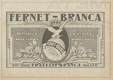 Z1536 FERNET-BRANCA Tonico Digestivo - Pubblicità d'epoca - 1925 Old advertising