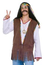 Mens Hippie Vest Suede Hippy Halloween Costume Groovy 60s Sixties Fringe Adult