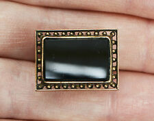 Antique ROLLED ROSE GOLD & Black Onyx LARGE BACHELOR STUD / Dress Stud
