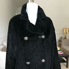 vintage VERSUS by GIANNI VERSACE 1995 Black Faux Fur Women's Coat size 10 44