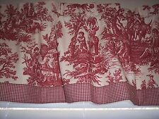 RED ON CREAM~WAVERLY Country Life Toile W/Check Trim STRAIGHT Valance Curtains!