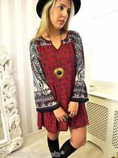 VTG Gypsy PAISLEY Free Bohemian Hippy Smock Blogger FAV Dress 10 12 M