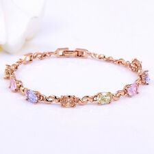 Rose Gold Filled Multi-Color Crystal Bracelet Fashion Jewelry For Friendship