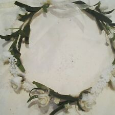 Ivory Floral Hair Crown Rose Flower Garland, Festival,Bridesmaids,Flower Girl