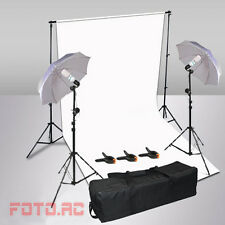 1250W Studioleuchte Fotostudio SET Hintergrundsystem 3,2x6M Hintergrund Stoff