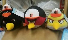 Baltimore Orioles Angry Birds Plush Toy Stuffed 3 bird set Black , Red ,& Yellow