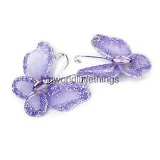 50 Wire Stocking Butterfly Purple Glitter Party Wedding Craft Decor Purple