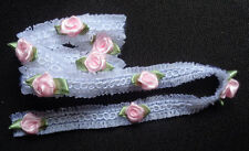 3/4 inch wide organza trim ribbon white with pink roses price for 1 yard