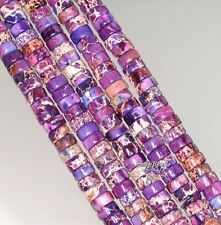 6X3MM IMPERIAL JASPER GEMSTONE PURPLE HEISHI SLICE RONDELLE LOOSE BEADS 7.5""