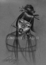 "Amber Carr Art Print 11"" x 17"" Pin Up Girl Submissive Geisha Shibari"