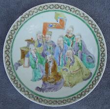 Grand plat en porcelaine de la Compagnie des INDES famille verte signé