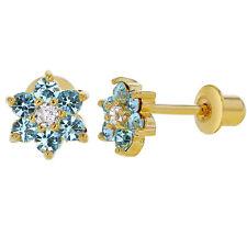 18k Gold Plated Light Blue Crystal Flower Baby Children Screw Back Earrings