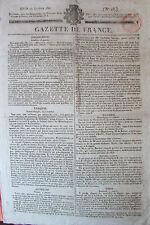 JOURNAL GAZETTE DE FRANCE LOT de 7 JOURNAUX de JANVIER 1821 ACTUALITES MONDE