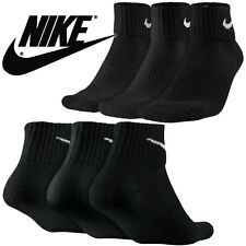 NIKE SOCKS 6 PAIR 12 SOCKS NEW QUARTER PERFORMANCE BLACK MEN'S SIZE 8-12