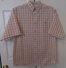 Orvis Button Front Short Sleeve Shirt Button Down Collar Med Check Pattern