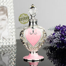 Vintage Empty Crystal Metal Peach Heart Perfume Bottle Cut Glass Collectible 8ml