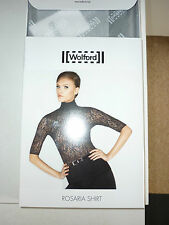 WOLFORD ROSARIA SHIRT, LACE TOP, XSMALL 8-10  BLACK, New in box
