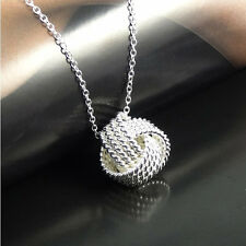 925 Sterling Silver Sweet Love 18MM Mesh Knot Pendant + Necklace Chain Set H3