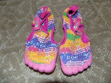 Newtz Barefoot Water Shoes Pink Blue Yellow Beach Surf Boat Size 11/12 Girl's