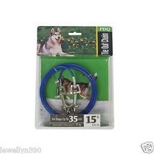 PDQ 15' Cable Tie Out w/ Swivel Leash Hook Dogs up to 35lbs