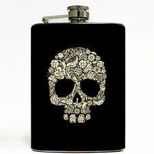 Floral Skull Hip Flask 8oz metal Stainless Steel Sugar Day of the Dead Flowers