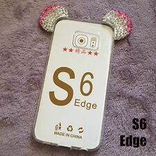 Samsung Galaxy S6 Edge - Pink Diamond Rhinestone Minnie Mouse Ears Rubber Case